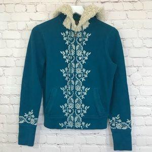 Lucky Brand Embroidered Sherpa Shag Hoodie Fleece